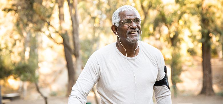 Man enjoying exercising in park